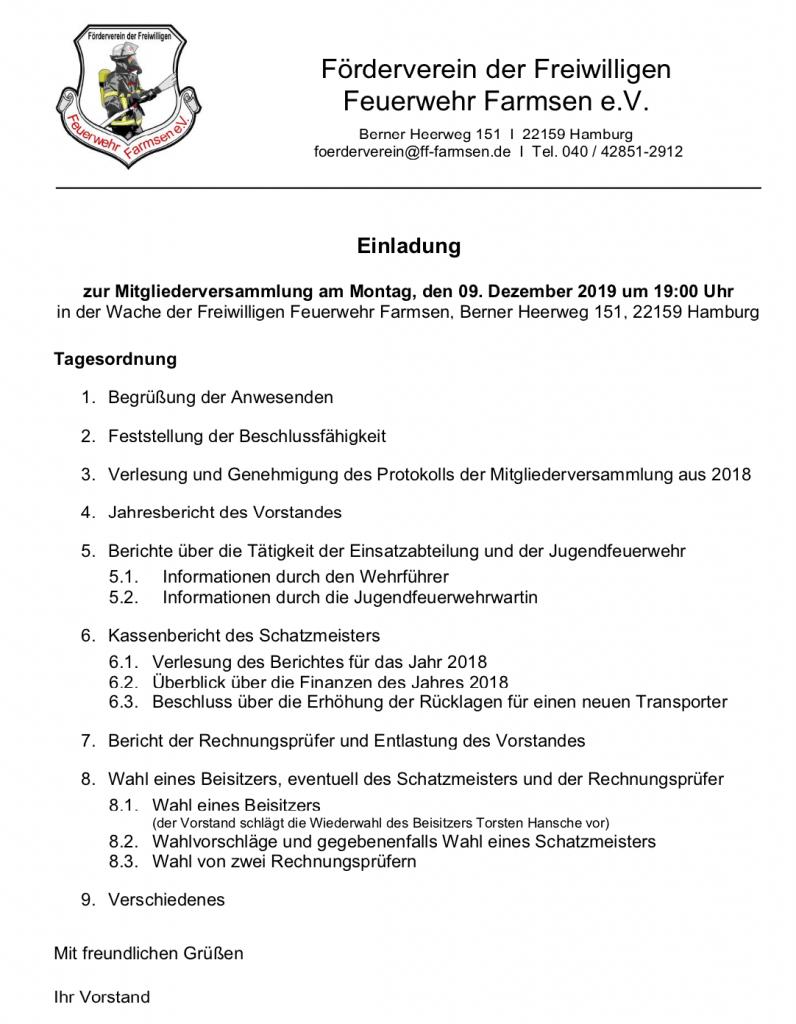 Jahreshauptversammlung Förderverein